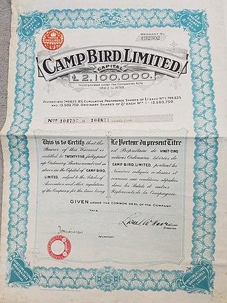 Camp Bird Mine - Camp Bird Share dated 7 Dec 1928