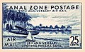 """Canal Zone Postage"""" """"Tenth Anniversary air mail"""" 25 cents - Panama Canal C18 (cropped).jpg"""