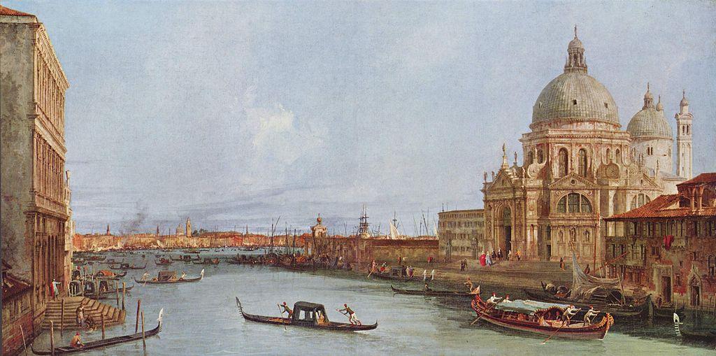 Santa Marie della Salute à Venise d'après Canaletto (vers 1740) à la Gemäldegalerie de Berlin.