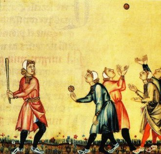 Bat-and-ball games - Young men playing a bat-and-ball game in a 13th-century manuscript of the Galician Cantigas de Santa Maria.