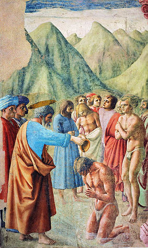 Immersion baptism - 15th-century painting by Masaccio, Brancacci Chapel, Florence
