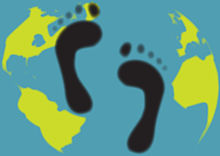 An artistic representation of a carbon footprint, shows a green, cartoon foot over a cartoon map of the world.