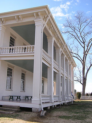 Carnton - Carnton's Greek Revival style back porch