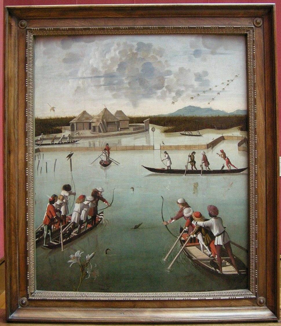 Carpaccio, caccia nella laguna, 1490-95 ca. 01