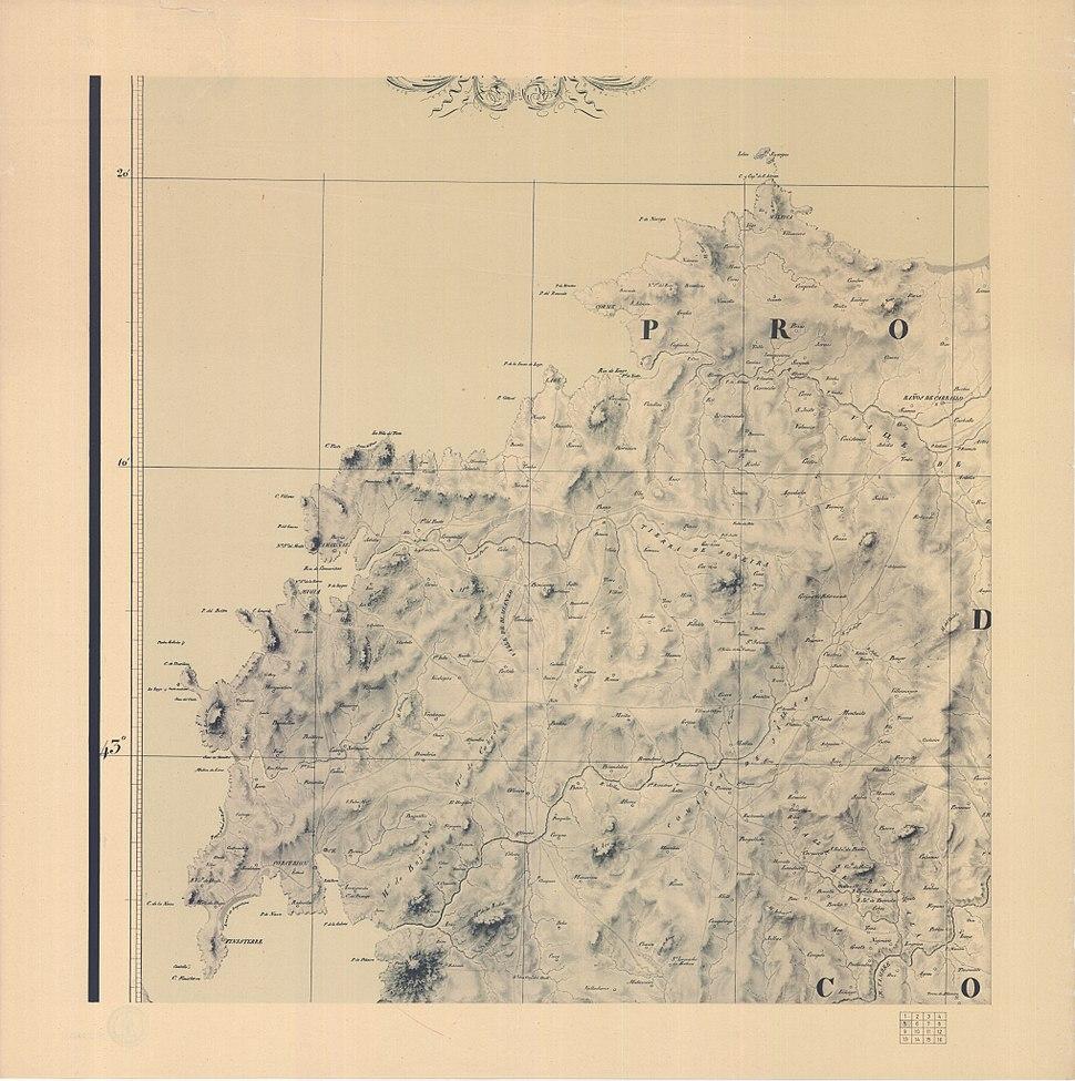 Carta geométrica de Galicia 1834 facsímil 1974 hoja 06