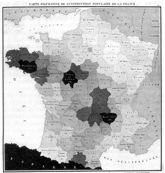 Charles Dupin - 1826 choropleth map of France.