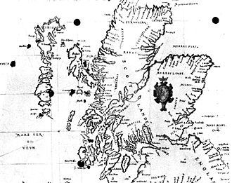 St Kilda, Scotland - 1580 Carte of Scotlande showing Hyrth (i.e. Hirta) at left and Skaldar (Haskeir) to the north east