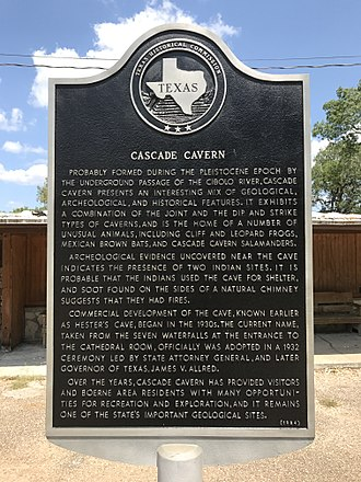 Cascade Caverns - Texas Historical Marker for Cascade Caverns