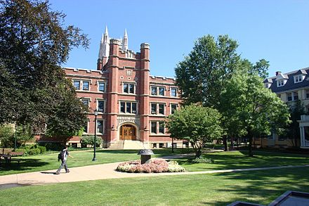 Haydn Hall on the campus of Case Western Reserve University (Flora Stone Mather Quadrangle) in Cleveland. Case western reserve campus 2005.jpg