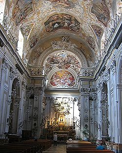 The Baroque interior of the church of St. Benedict.