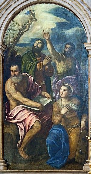 Giuseppe Porta - Caterina d'Alessandria con i Santi Gerolamo, Giovanni Battista, Giacomo Apostolo  San Francesco della Vigna
