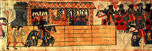 Catherine of Aragon - Catherine watching Henry jousting in her honour after giving birth to a son. Henry's horse mantle is emblazoned with Catherine's initial letter, 'K.'