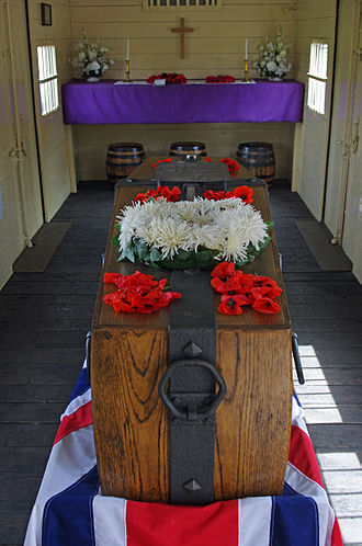 The Unknown Warrior - Replica Coffin of the Unknown Warrior; interior of the Cavell Van, Bodiam
