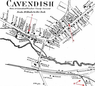 Phineas Gage - Image: Cavendish Vermont 1869Map Beers Annotated Phineas Gage Locations