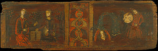Small coffered ceiling panel with scenes of gallantry and dancing