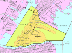 Mapa de la Oficina del Censo de Bayonne, Nueva Jersey