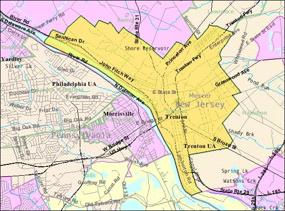 Census Bureau map of Trenton, New Jersey