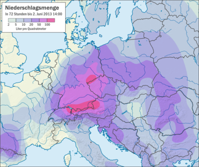Central Europe 72h rain fall at 2. June 2013.png