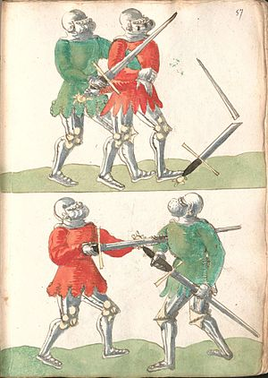 Jörg Wilhalm - armoured foot combat, with a rare depiction of a broken sword (Cgm 3711 fol. 57r)