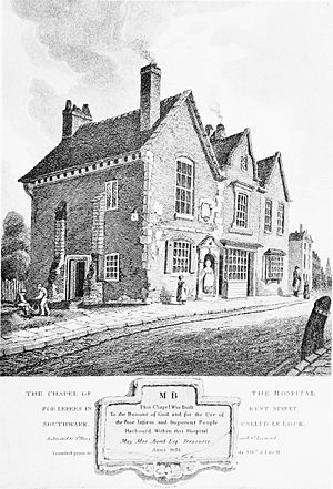River Neckinger - 1813 engraving of Chapel of the Hospital for Lepers in Kent Street, Southwark, called Le Lock. The upper section of the Neckinger passed by the hospital site and was known as Lock Stream.