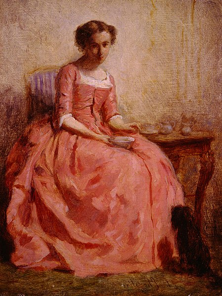 File:Chaplin-Girl in a Pink Dress Reading, with a Dog.jpg