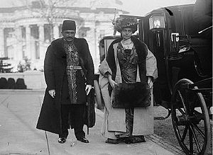 Chargé d'affaires - Persia's Chargé d'affaires and his wife visiting President Woodrow Wilson at the White House by invitation.