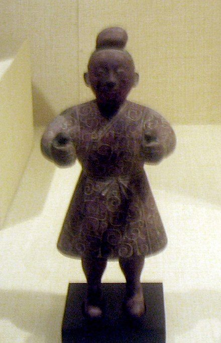 A bronze figure of a charioteer from the Warring States era of the Zhou Dynasty, dated 4th to 3rd century BC Charioteer figure, bronze, Eastern Zhou Dynasty.JPG
