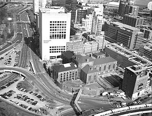 Charles Street Jail - Aerial view of Suffolk County jail, late 20th century