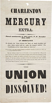 "Newspaper in extra large text, noting ""Union is Dissolved"""