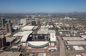 Chase Field - Aerial view of Chase Field and Phoenix from the south, on approach to Phoenix Sky Harbor International Airport
