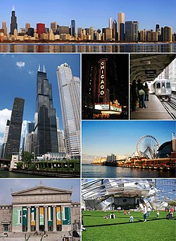 Clockwise frae tap: Dountoun Chicago, the Chicago Theatre, the Chicago 'L', Navy Pier, Millennium Pairk, the Field Museum, an the Willis Touer.