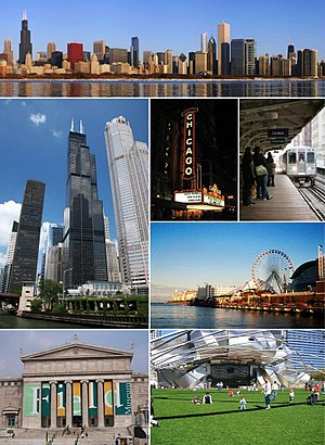 Clockwise from top: Downtown, the Chicago Theatre, the 'L', Navy Pier, the Pritzker Pavilion, the Field Museum, and Willis Tower