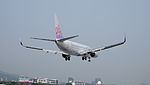 China Airlines Boeing 737-8Q8 B-18651 on Final Approach at Taipei Songshan Airport 20150427b.jpg