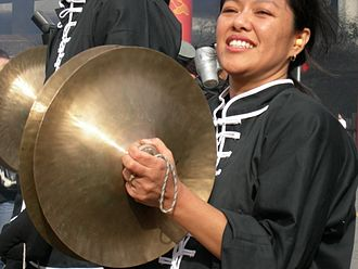 Cymbal - Chinese-style crash cymbals in use