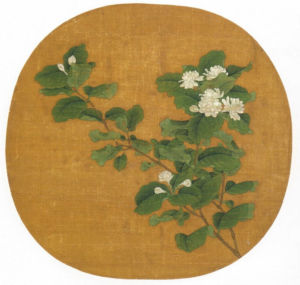 A square painting of a branch with a cluster of white flowers at the end. The branch is superimposed over a red square with rounded edges.