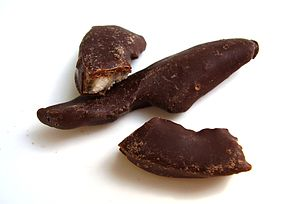 Peel (fruit) - Chocolate-coated citrus peel.