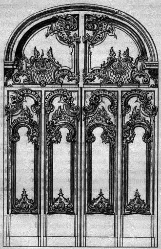 Nicolai Eigtved - Eigtved's drawing for the main portal door at Christiansborg Palace, carved by Louis August le Clerc