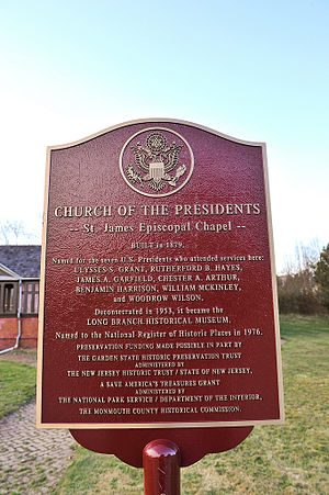 Church of the Presidents (New Jersey) - Image: Church presidents marker nj