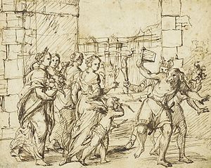 Lupercalia - The Lupercalian Festival in Rome (ca. 1578–1610), drawing by the circle of Adam Elsheimer, showing the Luperci dressed as dogs and goats, with Cupid and personifications of fertility