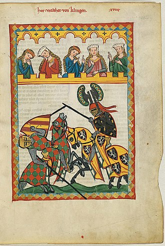 Jousting - Depiction of a late 13th-century joust in the Codex Manesse. Joust by Walther von Klingen.
