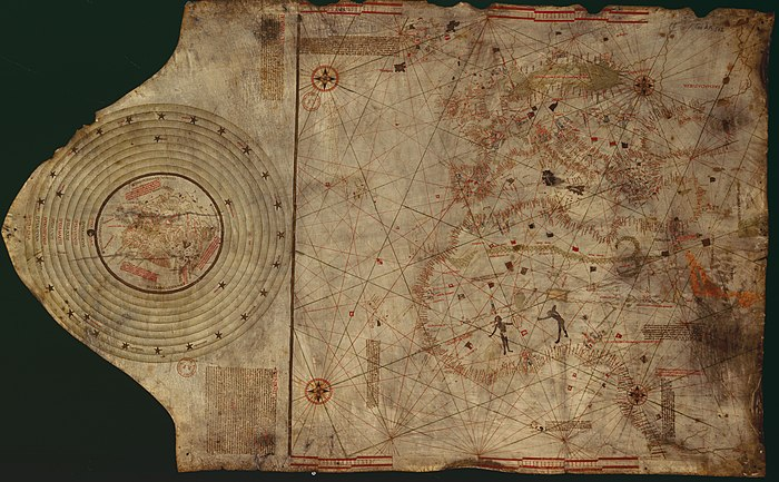 """Columbus map"", drawn c. 1490 in the Lisbon workshop of Bartolomeo and Christopher Columbus ColombusMap.jpg"