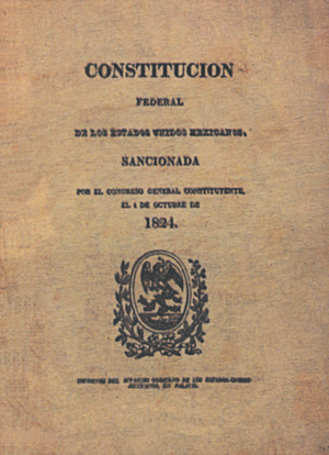 1824 Constitution of Mexico - Original front of the 1824 Constitution