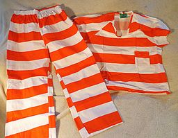 Contemporary orange-white striped prison uniform
