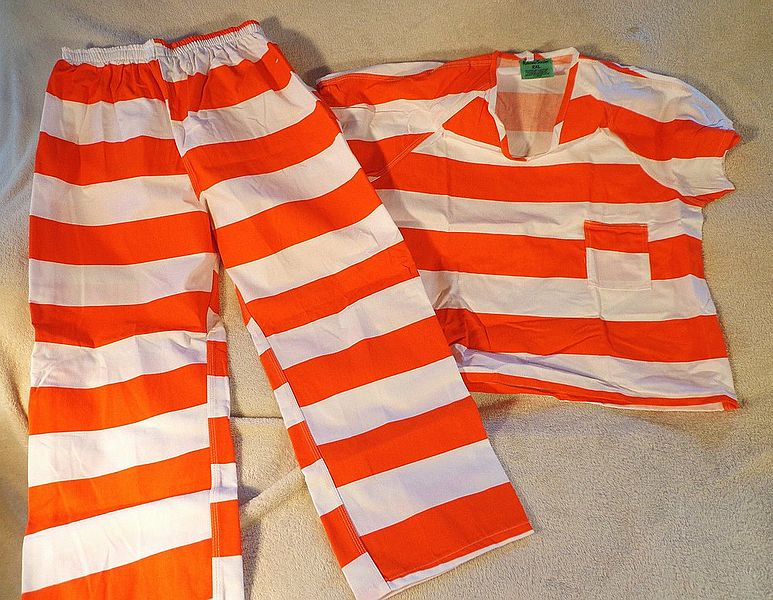 File:Contemporary orange-white striped prison uniform.JPG