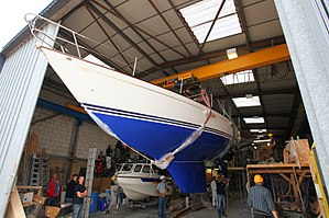 Contessa 32 - The underside of the hull, with fin keel and skeg visible.