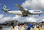 Corsair Boeing 747-300 at SXM Bidini.jpg