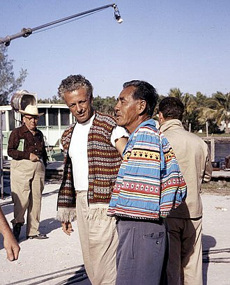 Wind Across the Everglades - Director Nicholas Ray (left) with actor Cory Osceola during filming of Wind Across the Everglades