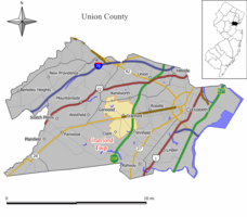 Map of Cranford Township in Union County. Inset: Location of Union County highlighted in the State of New Jersey.