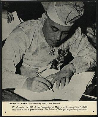 Hisamuddin of Selangor - Image: Creation in 1948 of the Federation of Malaya (7888168060)