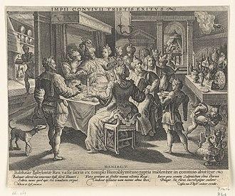 Rectangular Octave Virginal - Image: Crispijn van de Passe after Maerten de Vos Belshazzar's feast RP P 1966 467